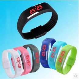 Wholesale Silicone Jelly Belts - Colorful Waterproof Soft Led Touch Watch Jelly Candy Silicone Rubber Digital Screen Bracelet Watches Men Women Unisex Sports Wristwatch DHL