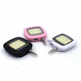 Wholesale Mini Flashing Leds - Universal Portable Mini 16 Leds Lamp Selfie Light LED Flash Dimmable Flash Fill-in Light Pocket Spotlight for iphone Smartphone Camera