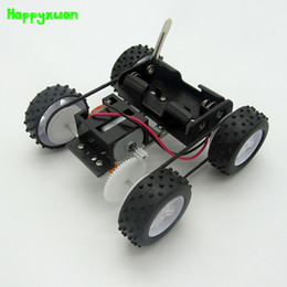 Wholesale Science Education - Happyxuan DIY Technology Science Kits Electric Four-wheel Drive Assembly Model Early Education Scientific Experimental Gear Toy