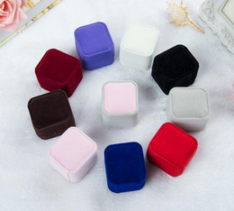 Wholesale Velvet Retail - Ring Retail Box (8 Colors Available) Wedding Jewellery Earring Ring Holder Storage Box Gift Packing Box For Jewelry
