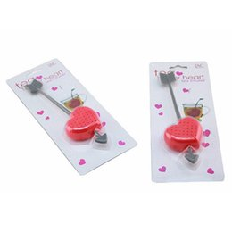 Wholesale Tea Strainers Love Heart - 1 Piece Hot Sale New Heart Love Tea Bags Strainers Teaspoon Filter Infuser Plastic Filtration Free Shipping