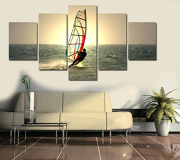 Wholesale Canvas Wall Art Ideas - 5 panel large HD printed oil painting Seascape sailing canvas print art home decor idea wall art pictures for living room
