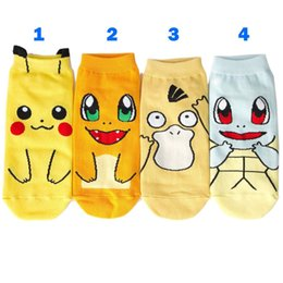 Wholesale Ash Brand - Cute Cartoon Poke Pikachu Squirtle Ash Boat Socks Women Lady Cotton Athletic Sport Basketball Ankle Sock Slippers Hosiery 8 Style WD459