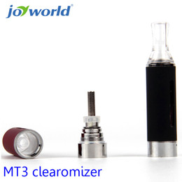 Wholesale Electronic Cigarette Smoking T - Wholesale- smoke electronic MT3 Cartomizer Electronic Cigarette 2.4ml Bottom Heating Coil Atomizer Clearomizer for EGO EGO-T Battery 25YY