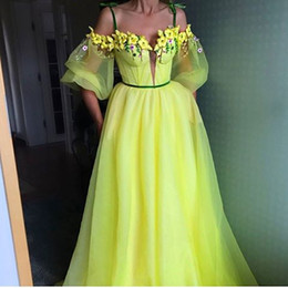 Wholesale Colorful Spaghetti - 2017 Colorful A-Line Evening Dresses with Spaghetti Neckline Sheer Puff Sleeves Boned Bodice Sweep Train Handmade Flowers Party Prom Gowns