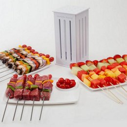 Wholesale Food Bbq - 36 Hole BBQ Grill Skewers Food Slicer BBQ Tools Barbecue Brochette Shish Kebab Maker Box express tool for meat fast Skewers