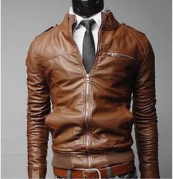 Wholesale Korean Motorcycle Leather Jacket Men - Wholesale- Coats Jackets Men's PU leather motorcycle leather jacket S-3XL 2016 new winter coat Korean Slim Men's leather jacket