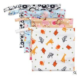 Wholesale Reusable Baby Diaper Bags - Baby Diaper Bags Cartoon Animal Monkey Rabbit Flower Printed Zippered Bag Waterproof Wet Cloth Diaper Stroller Bags Reusable Diaper Cover