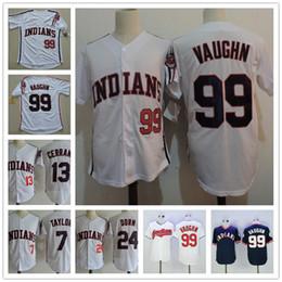 "Wholesale Blue Red Movies - The Film ""Major League"" Vintage Jerseys #99 Rick Vaughn #13 Pedro Cerrano #7 Jake Taylor #24 Roger Dorn White Indians Movie Baseball S-3XL"