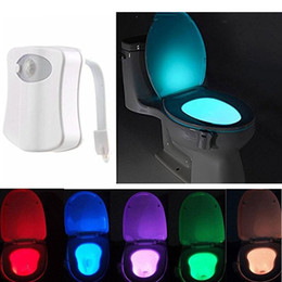 Wholesale Led Light Toilet Seat - LED Toilet Light Sensor Motion Activated Glow Toilet Bowl Light Up Sensing Toilet Seat Night light Inside Bathroom Washroom 8 Color