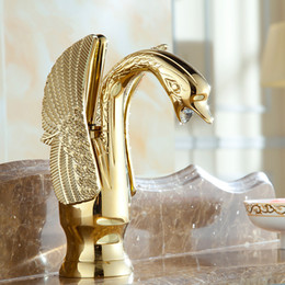 Wholesale Gold Swan Faucets - Gold Swan Basin Faucets Antique Plating Golden Water Tap Mixers Vintage Swan Torneira Dourada