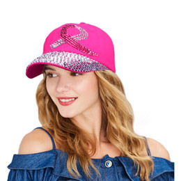 Wholesale Peach Ribbons - Crystal Baseball Cap for Women Breast Cancer Awareness Ribbon Hat Rhinestone Caps Snapback Rivet New Hat 2017 Brand