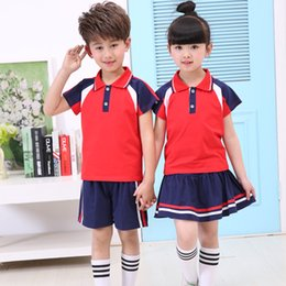 Wholesale American Children S Clothing - 2017 New Children's Clothing Boys and girls Summer T-shirt Shorts Sports Suit Set Children Boy Baby Kids Fashionable School Uniform Outfit
