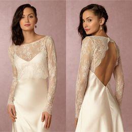 Wholesale White Short Dress Bolero - New 2018 long sleeves lace bolero wedding dress jackets scoop neck open back short shawl bridal jacket for special party