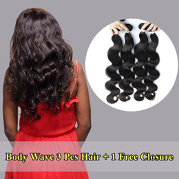 Wholesale Buy Closure - Jinpai Hair Free Shipping Brazilian Virgin Hair Buy 3 Bundles Get One Free Lace Closure 4*4 Swiss Lace Closures
