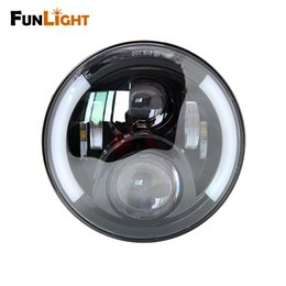 Wholesale halo led projector - Funlight 7 inch round Motorcycle Projector Daymaker LED Headlight With Halo & DRL &Turn light For Harley Davidson Street Glide