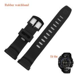 Wholesale Swim Sport Accessories - Wholesale- Black special watchbands rubber sport watches belt straps fit PRG-130Y PRW-1500Y Climbing swimming watch accessories waterproof