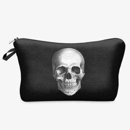 Wholesale animal print make up case - SF High Quality 2017 New Skull 3D Printed Black Cool Cosmetic Bags Makeup Storage Bag Black Skeleton Make up Brushes Case