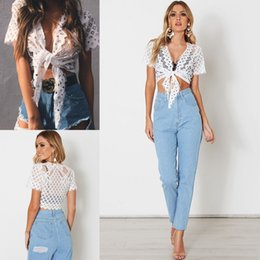 Wholesale White Crop Tie Top - New Fashion White Lace Crop Top Tied Up Front Short Sleeves V-neck Tank Tops for Women 2017 FS1975