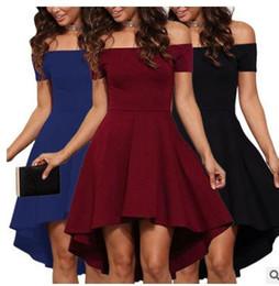Wholesale Dropped Shoulder - Suit-dress New Pattern Irregular Sexy Self-cultivation One Shoulder Short Sleeve Split Joint Solid Color Dress Clothing Ladies Dresses Woman