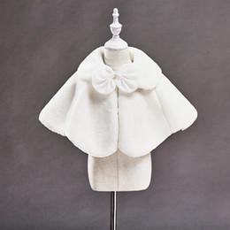 Wholesale Korean Plush Brands - Korean Girls Bow Plush Cloak Capes Poncho Ruffles Jackets White Color Wedding Flower Girl Children Fall Winter Outerwear