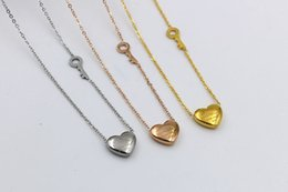 Wholesale white forever - Beichong 2017 new version forever love titanium peach Heart Key Necklace for female Korean fashion women necklace do not fade