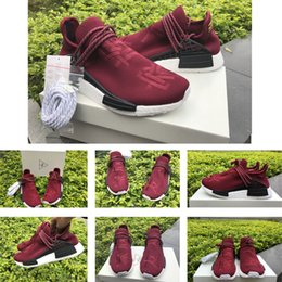 Wholesale Fall Specials - Pharrell Williams Friends and Family NMD HUMAN RACE Runner Shoes Yellow Hu man Special Burgundy Maroon Sport sneakers Shoes size36-45