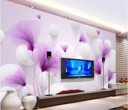 Wholesale Background Size - Custom any size Purple flowers romantic lilies transparent ball beautiful 3D background wall