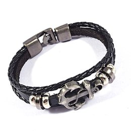 Wholesale Gold Anchor Wrap Bracelet - Wholesale-Fashion Vintage Multilayers Leather Bracelets Retro Pirate Navy Anchor Charms Braided Wrap Leather Bracelets Jewelry For Men