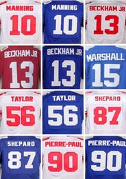 Wholesale Elite 13 - 2017 Elite Football Jersey 13 Odell Beckham Jr 15 Brandon Marshall 10 Eli Manning 87 Sterling Shepard white blue red