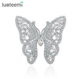 Wholesale South Korean Fashion - New Arrival Fashion Brooches Korean Style CZ Butterfly Wedding Bridal Brooch Wholesale Jewelry Hot Sale LUOTEEMI