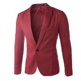 Wholesale Korean Wedding Men Coat - Wholesale- Blazers Men 2016 Korean style slim fit fashion blazer Suit Jacket black blue beige Male blazers Mens coat Wedding dress