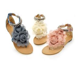 Wholesale Wedding Sandals Flat - Hot Flower Sandals for Women 2017 Summer Lady Flower Slippers Fashion Women Shoes