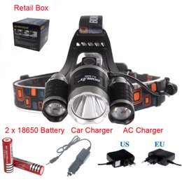 Wholesale Rechargeable Head Torches - 5000 lumen 3x CREE XM-L 3TR5 LED Headlamp Headlight Head light torch Lamp flashlight head for hunting camping+ Battery