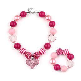 Wholesale Handmade Baby Jewelry - Birthday Gift Baby Girls Necklace Fashion Handmade Pink Love Heart Bubblegum Jewelry Europe Princess Chunky Beads Necklace