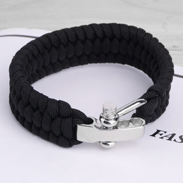 Wholesale Buckle Shackle - Black ParaCord Rope Outdoor Survival Bracelet Camping Steel Shackle Buckle Wholesale free shipping