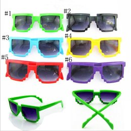 Wholesale Pixel Sunglasses Men - LongKeeper Kids Sunglasses Square Mosaic Sun Glasses Children Pixel Sunglasses Trendy Boys Girls Glasses With Case YYA690