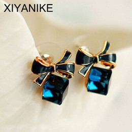 Wholesale Cube Bow Earrings - 2016 New jewelry Shimmer Chic fashion Gold Bowknot Cube Crystal Earring Gold Square bow Stud Earrings for Women XY-E598