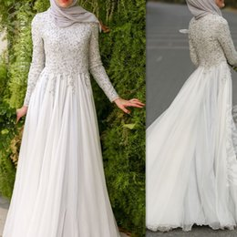 Wholesale Muslim Chiffon Dresses For Women - Ivory Muslim Evening Dresses With Long Sleeve High Neck A-line Floor Length Special Occasion Party Gowns For Arabic Women