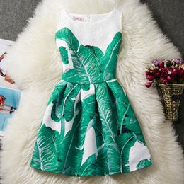 Wholesale Retro Print Skirt - Multicolor Girls retro floral printing sleeveless pricess dress Kids flower birds butterfly fox pinting jacquard dress skirt for 6-12T