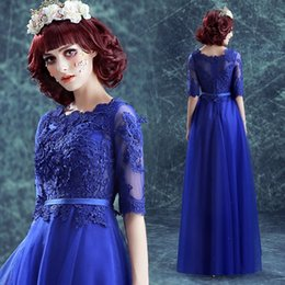 Wholesale Long Sleeve Dinner Gowns - 2017 Elegant Evening Gowns Sleeves Scalloped Neck A Line Floor Length Quality Lace and Tulle Royal Blue Formal Dresses Evening for Dinner