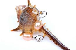 Vendita calda Argento 925 Set trapano Orecchino gioielli NobleFashion orecchino a forma di cuore Orecchino perla naturale nuovo arrivo 3 colori da orecchino di perle d'acqua dolce 925 argento fornitori