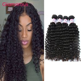 Wholesale Hair Extension Machine For Sale - Glamorous Indian Virgin Hair Weaves 100% Human Hair 6 Bundles Brazilian Peruvian Malaysian Deep Wave Wave Hair Extensions for sale
