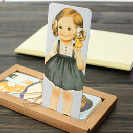 Wholesale Doll Bookmarks - Wholesale- 30pcs pack Cartoon doll girls paper bookmarks for books Cute rectangular vintage book mark office school supplies OL009