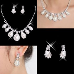 Wholesale Cheap Party Statement Jewelry - 2017 in stock Cheap New Styles Statement Necklaces Pearl Sets Bridesmaids Jewelry Lady Women's Prom Party Fashion Jewelry Earrings 15040