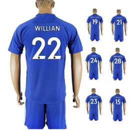 Wholesale Mens Sets - Customized 17-18 home blue 22 Willian Soccer Jersey With Short,Cheap mens 11 Pedro 3 MARCOS A. 29 Chalobah 10 Hazard Training Soccer Sets