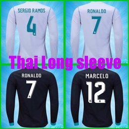 Wholesale Cheap Army Jersey - Cheap Thailand Long sleeve soccer jersey Camisa Real madrid Jersey 17 18 RONALDO SERGIO RAMOS ISCO MODRIC madrid jersey 2018 football shirt