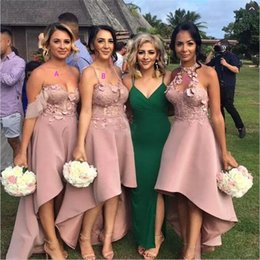 Wholesale royal purple colors - Gorgeous High Low Bridesmaid Dresses Dusty Pink Colors Halter Spaghetti Straps Off Shoulder Appliques Maid Of Honor Dress Sexy Party Gowns