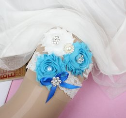 Wholesale Garter Sets Cheap - 2pcs White Lace Bridal Garters Wedding Garters with Blue Chiffon Flowers Free Shipping Cheap Wedding Prom Leg Garter set Blue