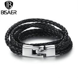 Wholesale 14k jewerly - Wholesale- New Arrival Black Brown Fashion Leather Bracelet Fashion Brown Punk Cuff Bracelets & Bangles for Women Men Jewerly